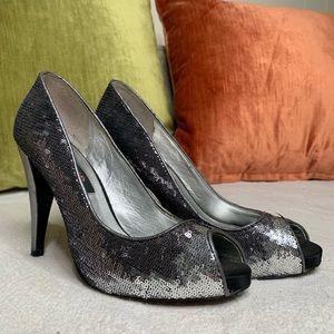 Ombre silver sequins Nina New York heels peep toe